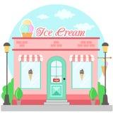 Tienda de helado de la fachada con un letrero, un toldo y un símbolo en escaparate stock de ilustración
