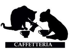 Tienda de la barra de café con el gato y el perro stock de ilustración