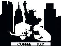 Tienda de la barra de café en Nueva York con el gato y el perro stock de ilustración