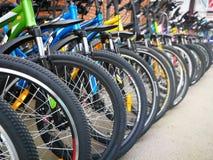 Tienda de la bicicleta, filas de nuevas bicis fotos de archivo libres de regalías