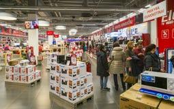 Tienda de la electrónica de Navidad Fotos de archivo libres de regalías