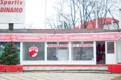 Tienda de la fan del club del fútbol de Dinamo Imagen de archivo libre de regalías