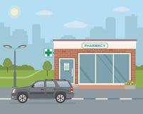 Tienda de la farmacia de la fachada y coche de SUV en fondo de la ciudad stock de ilustración