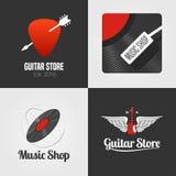 Tienda de la guitarra, sistema de la tienda de la música, colección de icono del vector, símbolo, emblema, logotipo, muestra Imagen de archivo libre de regalías