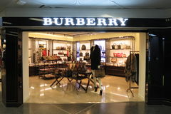 Tienda de la marca de Burberry Imagenes de archivo