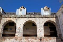 Tienda de las Antillas, del Caribe, de Antigua, del astillero de Nelson, del cobre y de la madera de construcción, patio Fotos de archivo