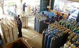 Tienda de las botellas de gas Foto de archivo