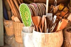 Tienda de las cestas Hay mucho clase de cesta que se hace de bambú El mimbre de la cesta es hecho a mano tailandés Es textura de  Fotografía de archivo libre de regalías