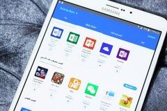 Tienda de los apps de la galaxia de Android en la etiqueta s2 de Samsung Fotos de archivo