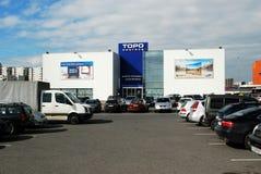 Tienda de los centras del Topo en la calle de Ukmerges Fotografía de archivo