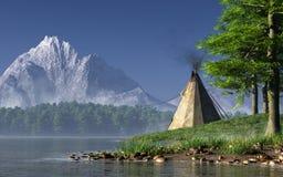 Tienda de los indios norteamericanos por un lago ilustración del vector