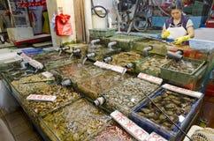 Tienda de los mariscos en Sai Kung, Hong Kong Imagen de archivo libre de regalías