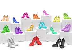 Tienda de los soportes de los zapatos Imagenes de archivo