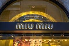 Tienda de Miu Miu Foto de archivo libre de regalías