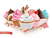 Tienda de pasteles, confitería Postre dulce Torta, magdalena vector 3d libre illustration
