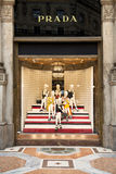 Tienda de Prada en Milán Imagen de archivo libre de regalías