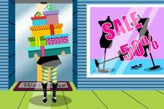 Tienda de ventana de los regalos del regalo de la pila de la mujer de las compras Foto de archivo