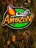Tienda del Amazonas del café, logotipo de la bebida del Amazonas del café imagen de archivo