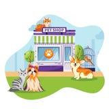Tienda del animal doméstico o ejemplo plano de la historieta del vector de la fachada de la clínica del veterinario Gatos y perro stock de ilustración