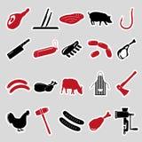 Tienda del carnicero y de carne negra y etiquetas engomadas rojas fijadas Imagen de archivo