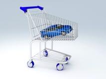 tienda del coche 3d Concepto de la venta - mano con la lupa Imágenes de archivo libres de regalías