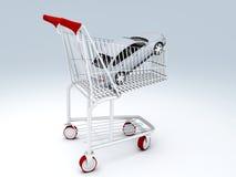 tienda del coche 3d Concepto de la venta - mano con la lupa Imagen de archivo