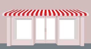 Tienda del escaparate Edificio de Rose Shop Tienda rayada del toldo fachada stock de ilustración