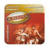 Tienda del especialista de la bicicleta de la publicidad de la estera de la cerveza de G Besuyen Imágenes de archivo libres de regalías