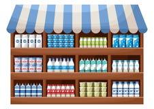 Tienda del granjero del producto lácteo Foto de archivo