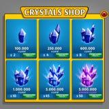 Tienda del panel de los cristales, activo del juego con los iconos minerales ilustración del vector