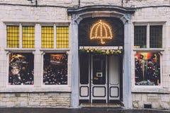 Tienda del paraguas de la Navidad de Gante Imágenes de archivo libres de regalías