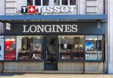 Tienda del reloj Montres SA en Ginebra, Suiza Foto de archivo
