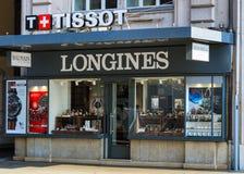 Tienda del reloj Montres SA en Ginebra, Suiza Fotos de archivo libres de regalías