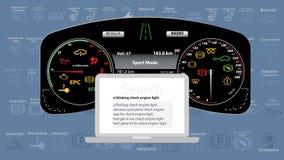 Tienda del servicio del coche con el avatar grande del mecánico en frente Motor del control - Yup, aún allí mensaje Ejemplo del v foto de archivo