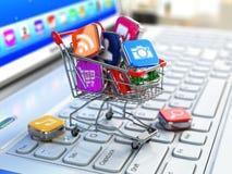 Tienda del software del ordenador portátil Iconos de Apps en carro de la compra Fotos de archivo libres de regalías