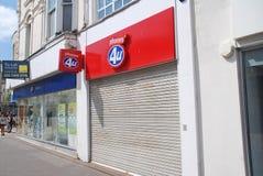 Tienda del teléfono móvil de los teléfonos 4U Imagen de archivo libre de regalías