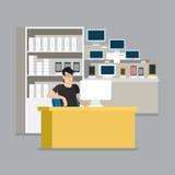 Tienda del vendedor del escaparate de la tableta del smartphone del ordenador en el vector plano libre illustration