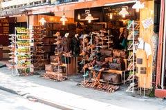 Tienda en Hoi An Selling Custom Leather imagen de archivo