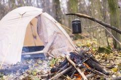 Tienda en juego del WHO en el pote que prepara la agua caliente para el té o el café Imagen de archivo libre de regalías