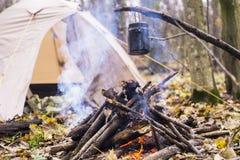 Tienda en juego del WHO en el pote que prepara la agua caliente para el té o el café Foto de archivo libre de regalías