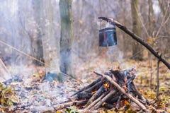 Tienda en juego del WHO en el pote que prepara la agua caliente para el té o el café Imagenes de archivo