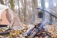 Tienda en juego del WHO en el pote que prepara la agua caliente para el té o el café Fotografía de archivo
