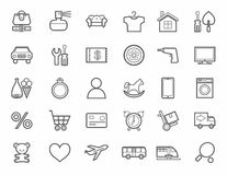 Tienda en línea, categorías de producto, iconos, linear, monótonos Fotos de archivo libres de regalías