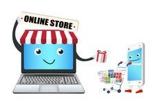 Tienda en línea del ordenador portátil con el teléfono y el carro de la compra elegantes libre illustration