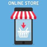 Tienda en línea del toldo en Smartphone ilustración del vector
