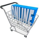 Tienda en línea del Web de Internet de la palabra de la cesta del carro de la compra Foto de archivo libre de regalías