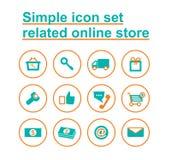 Tienda en línea relacionada determinada del icono simple Fotos de archivo