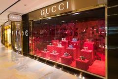 Tienda en la alameda pacífica del lugar, Hong Kong de Gucci Foto de archivo