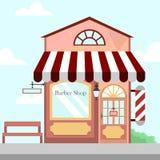 Tienda Front Building Background Illustration de la barbería imagen de archivo