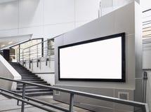 Tienda interior de la exhibición ascendente de la mofa de la señalización de la bandera de la cartelera fotos de archivo